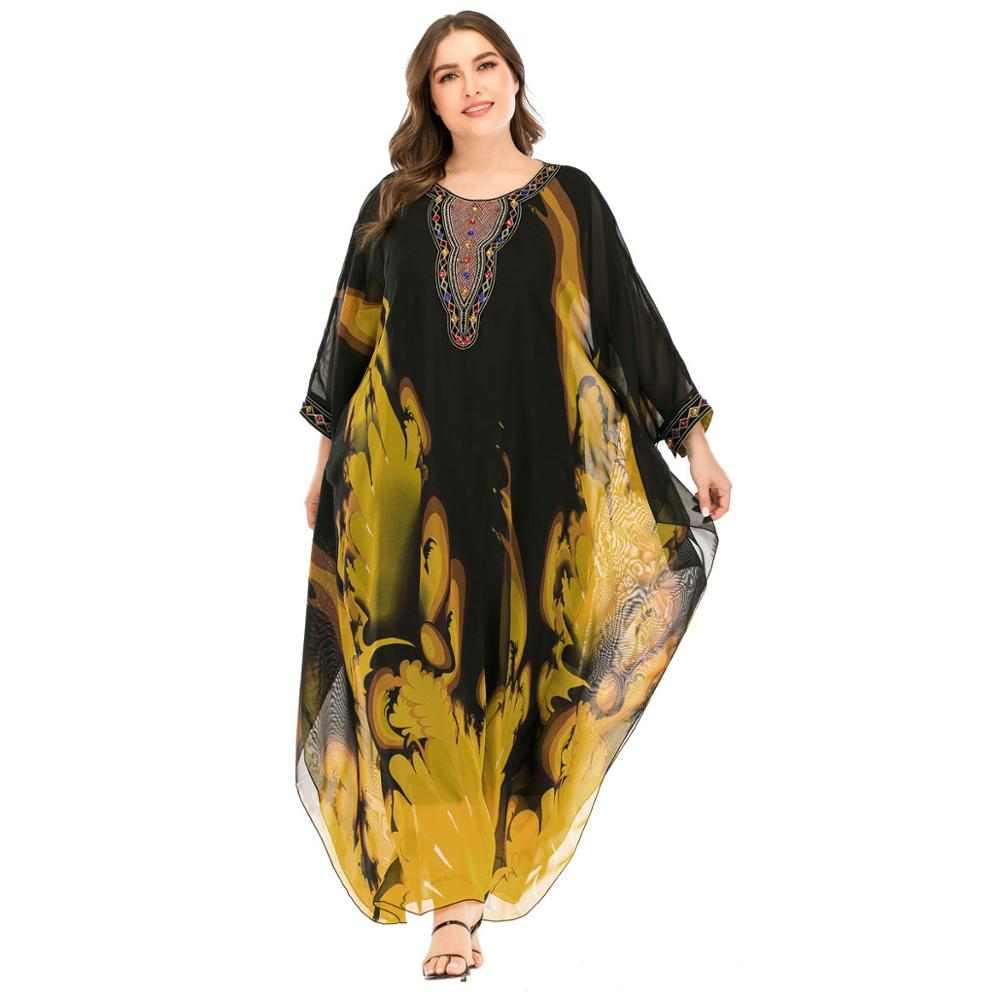 Women Chiffon Beading Design Abaya Summer Batwing Sleeve Maxi Dress Ramadan Kaftan Gown Oversized Casual Loose Robe VKDR1990