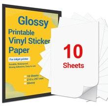 10 Sheets Printable Vinyl Sticker Paper A4 Glossy Self-Adhesive Inkjet Printer Paper for Inkjet Printer DIY Decals Gift Crafts