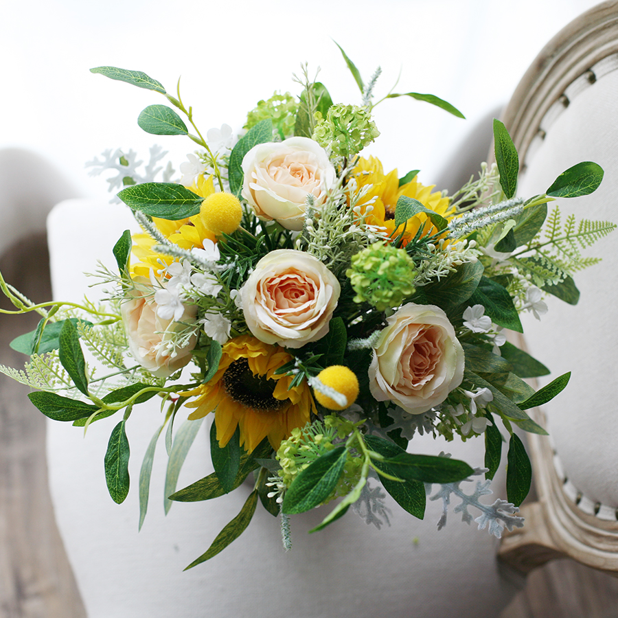 JaneVini 2020 Vintage Yellow Sunflower Wedding Bridal Bouquets Artificial Champagne Peony Bride Silk Flowers Wedding Accessories