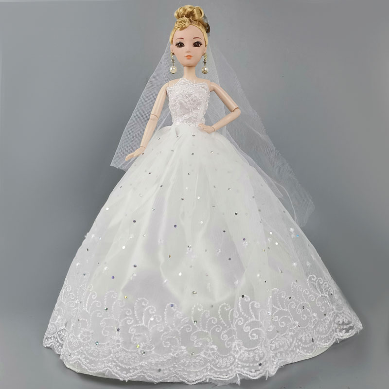 """White Fashion Doll Dress For 11.5/"""" Doll Clothes Gown Veil Wedding Dress Outfits"""