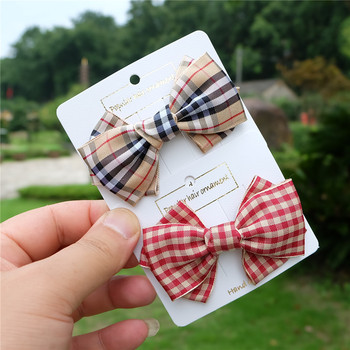 Classic Plaid Bows Girls Hair Clip Butterfly Hairpin For Baby Kids Women Barrettes Childrens Accessories Fashion Headwear