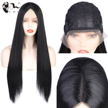 XISHIXIUHAIR Black Color 28inch Synthetic Hair Lace Front Wigs with Straight Hair Glueless Lace Wigs with Pre Plucked