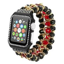 Suitable for Appl Watch 38 Mm/42 Size of Crystal Agate Pomegranate Watch Strap + Diamond Set Metal Frame(China)