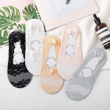 5 пар/лот летние тонкие однотонные кружевные цветочные носки