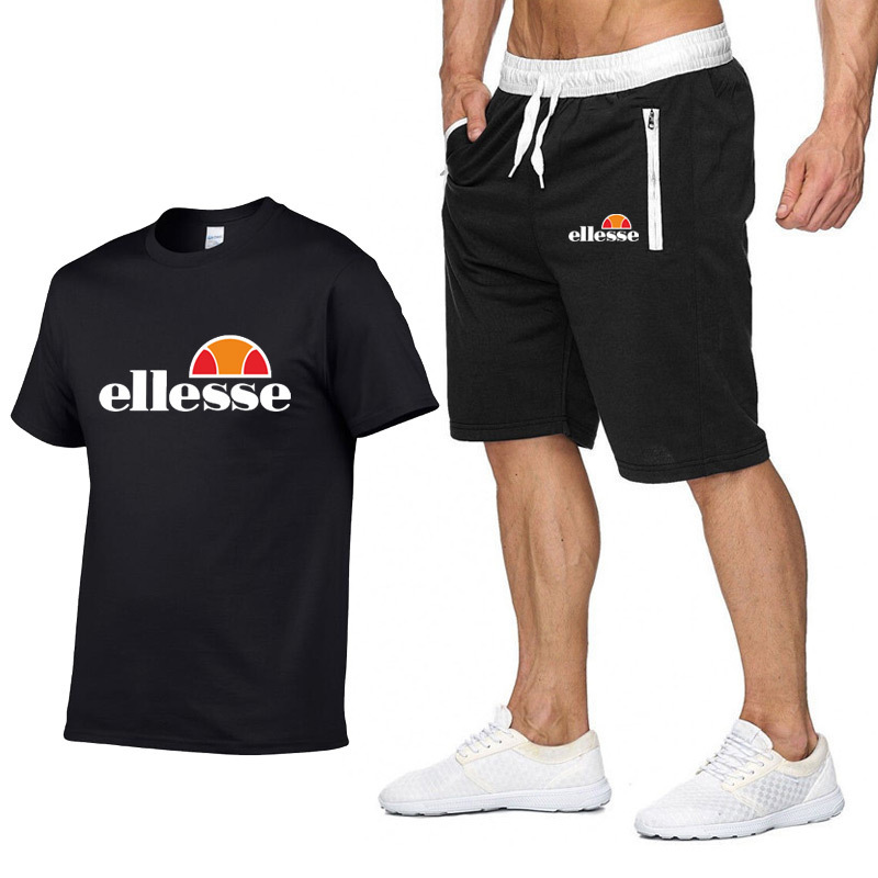Hot Sales Europe And America Popular Brand Round Neckline T-shirt 2019 Summer New Style Men's Casual Loose Tops + Shorts Set