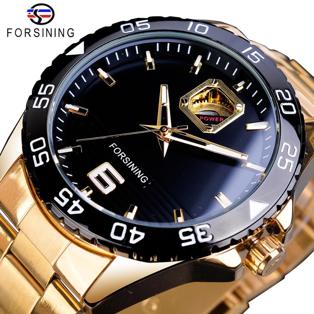 Forsining Mechanical Mens Watches Top Brand Luxury Automatic Man Watches Golden Stainless Steel Waterproof Luminous Hands Clock