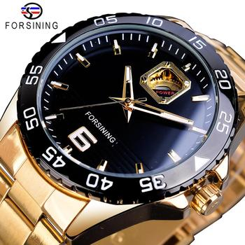 Forsining Mechanical Mens Watches Top Brand Luxury Automatic Man Watches Golden Stainless Steel Waterproof Luminous Hands Clock forsining mechanical wristwatches fashion gold men s automatic watches top brand luxury luminous hands waterproof male clock