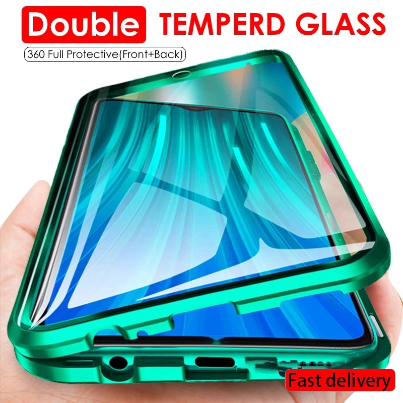 360 magnetic adsorption metal case for Xiaomi Redmi Note 9 10 9A 9C 9S 8 8T 8A 7 K20 9T Pro Poco X3 NFC double-sided glass cover