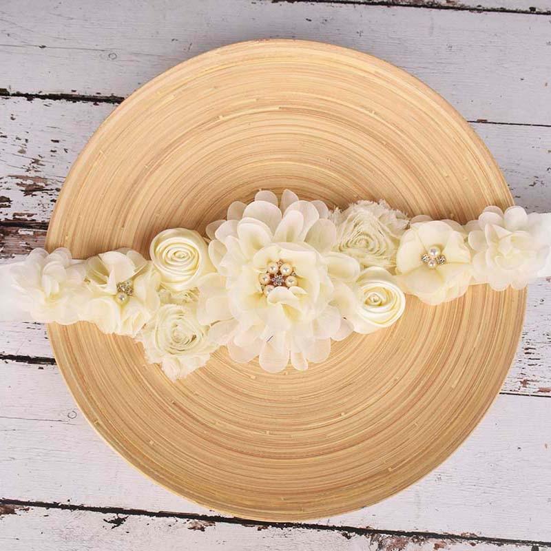 Ivory Maternity Sash Pregnancy Belly Belt Baby Shower Party Sash Postpartum Belt Wedding Floral Sash Pregnant Accessories