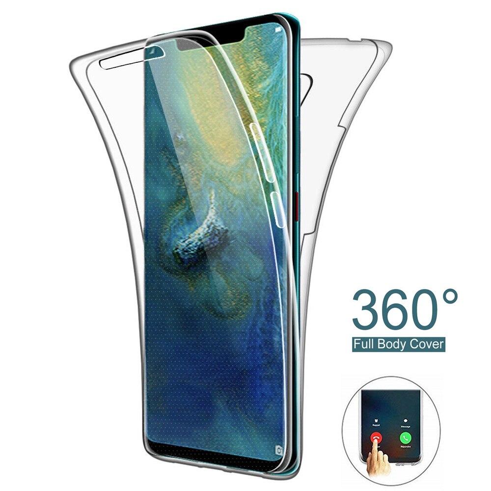 360 duplo de Silicone Caixa Do Telefone para Huawei Y5 Y6 Y7 Y9 2019 P30 P20 Pro P10 P9 P8 Lite 2017 P Smart Plus 2019 Honra 10i 20i Casos