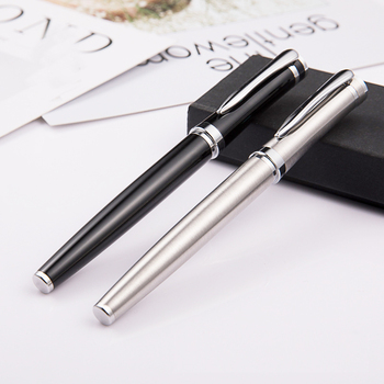 Metal Roller Pen Silver Black Luxury signature Ballpoint Pen For Business Writing Office School Supplies gift Free Shipping 1 0mm silver metal novel ballpoint pen learning office supplies school stationery gift luxury pen hotel business