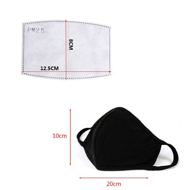 Mask with 2 Replaceable Filters Anti Pollution Mask Breathable Cotton Dust-proof Mouth Mask Replaceable Filter 5