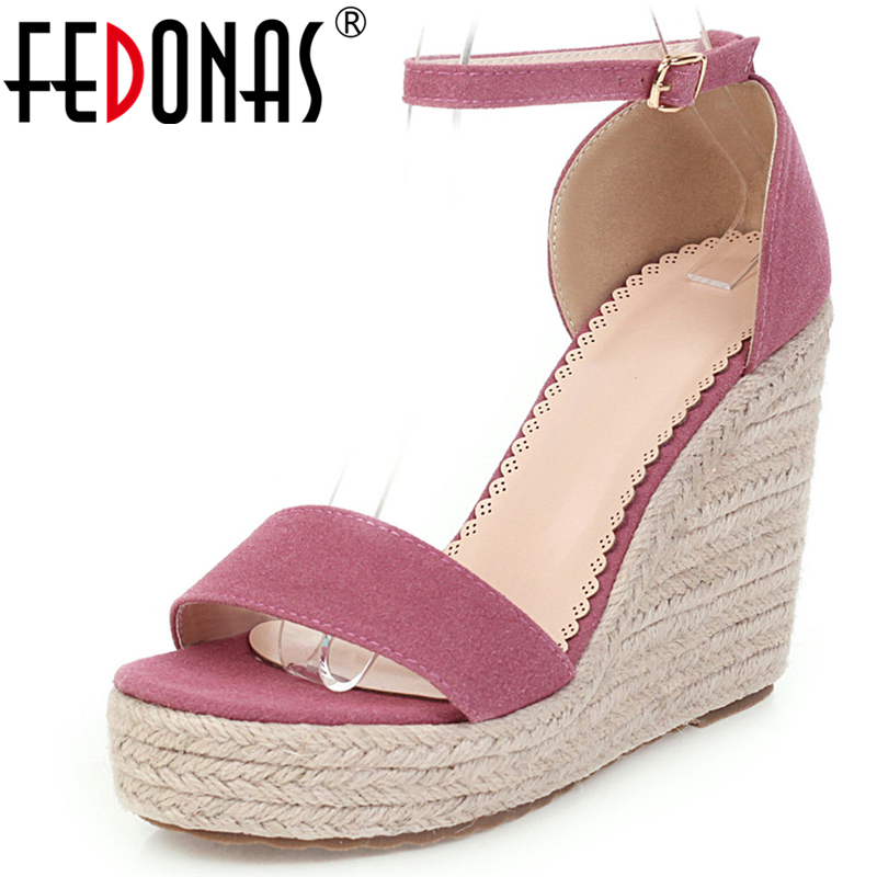 FEDONAS Women Casual Sandals Spring Summer New Arrival Ankle Buckle Strap Wedges Sandals Fashion Concise Shoes Woman