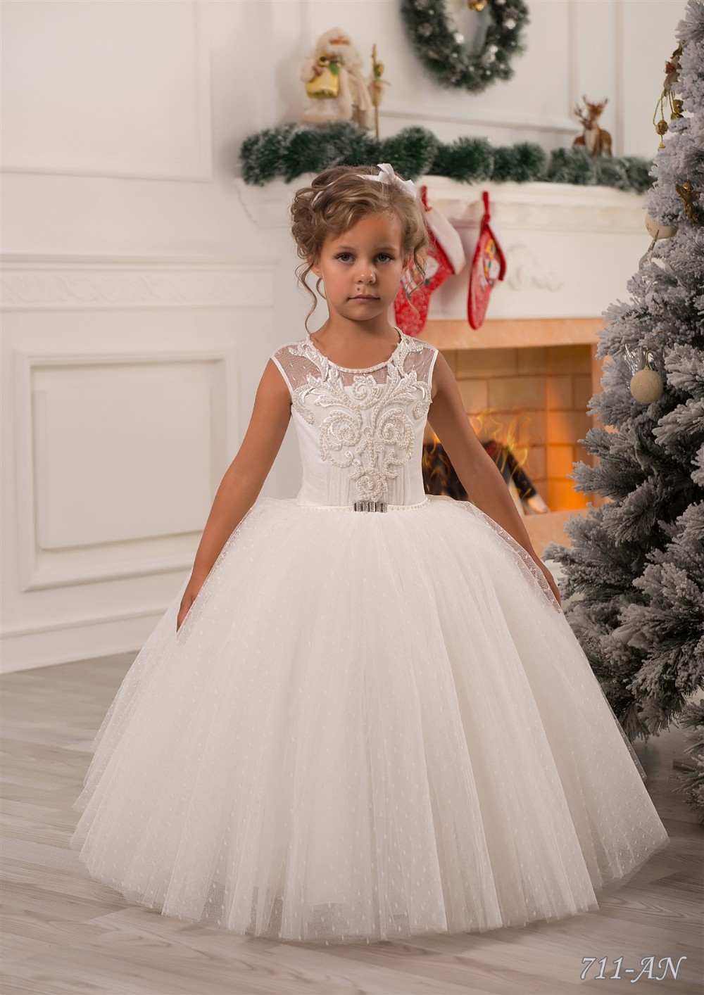 2019   Flower     Girl     Dresses   For Weddings Ball Gown Cap Sleeeves Tulle Appliques Pearls Long First Communion   Dresses   Little   Girl