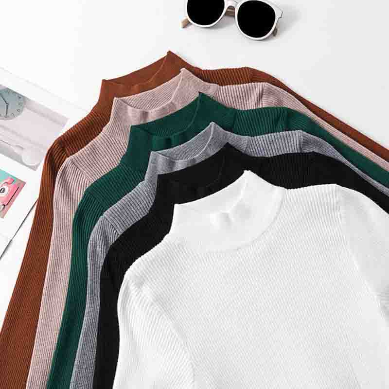 Women Sweater  Autumn Winter High Elastic Solid Turtleneck Sweater LADY Slim Fit Tight Sexy Bottoming Knitted Pullovers