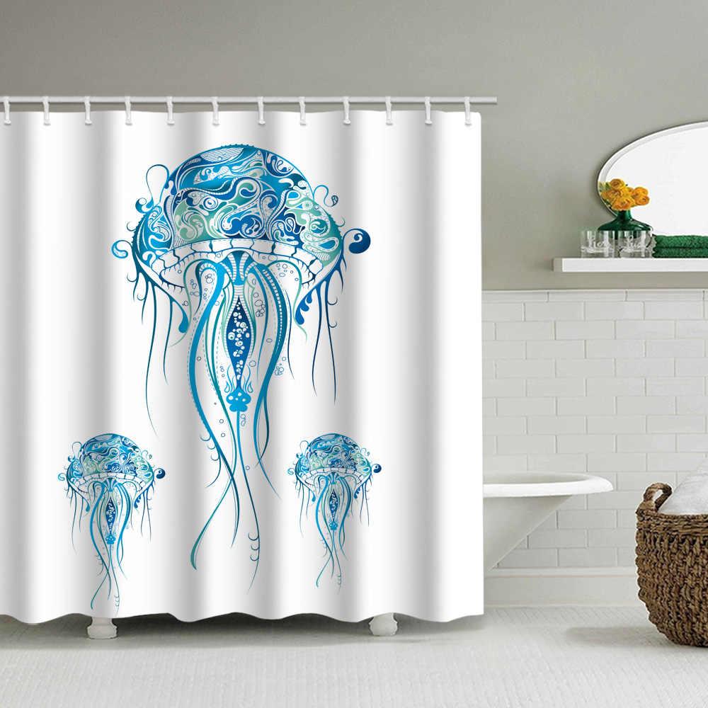 mandala jellyfish shower curtain