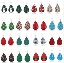 Trendy Creative Water Drop Shaped Christmas Series Leather Earrings Fashion Christmas Earrings Jewelry For Women Girl Gift 1Pair