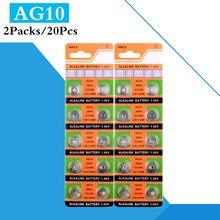 Bateria Alcalina de célula tipo Moeda 20 Unidades/pacote AG10 1.55V LR1130 389 SR1130 189 LR54 SR54 389 189 Botão Baterias Para Câmeras Digitais