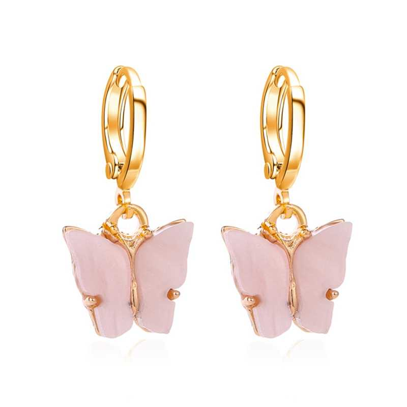 2020 novos brincos femininos moda cor acrílico borboleta brincos do parafuso prisioneiro animal doce colorido brincos meninas jóias