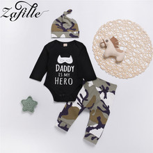 цены ZAFILLE Baby Boy Clothes Cotton 3Pcs Baby Romper+Camouflage Pants+Hat Newborn Infant Outfits Set 2020 Kids Clothes Boys Suits