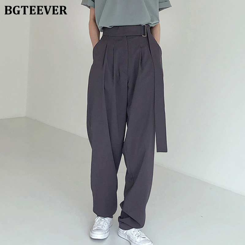 BGTEEVER Fashion Belted Women Long Pants High Waist Causal Loose Trouser For Women Pants Elegant Wide Leg Capris Female 2020