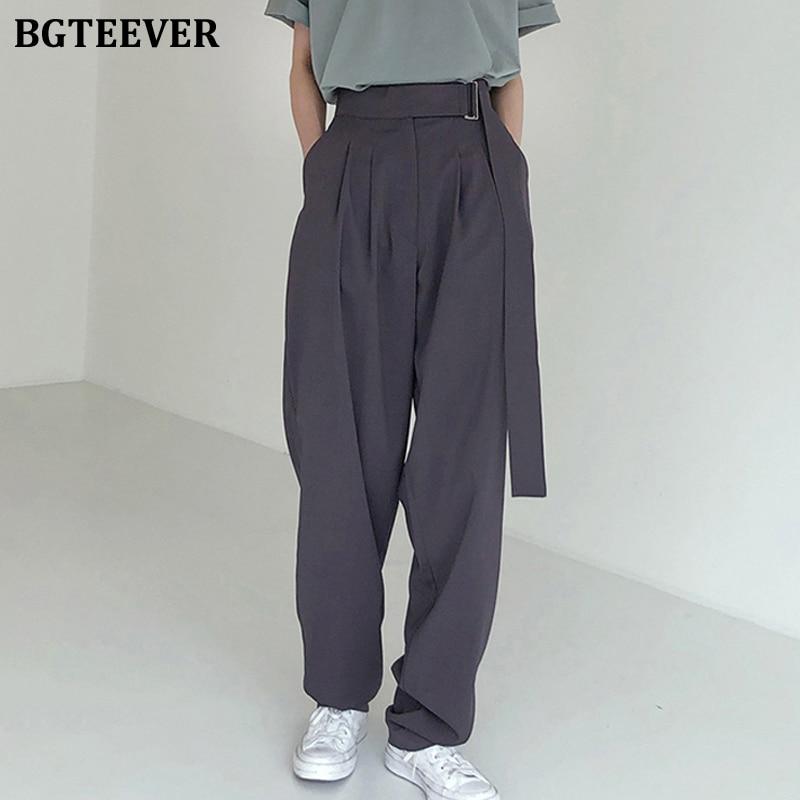 BGTEEVER Fashion Belted Women Long Pants High Waist Causal Loose Trouser For Women Pants Elegant Wide Leg Capris Female 2020