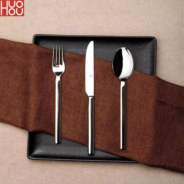 Huohou Stainless Steel Steak Knives Spoon Fork Tableware Quality High grade Dinner Dinnerware Household Cutlery Set