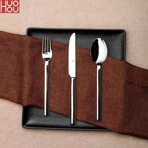 Image 1 - Huohou paslanmaz çelik biftek bıçakları kaşık çatal sofra kaliteli yüksek dereceli akşam yemeği yemek takımı ev çatal bıçak kaşık seti
