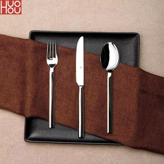 Huohou paslanmaz çelik biftek bıçakları kaşık çatal sofra kaliteli yüksek dereceli akşam yemeği yemek takımı ev çatal bıçak kaşık seti