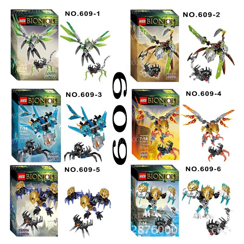 Bionicle Creature Of Jungle Stone Water Fire Earth Onua Uxar Ketar Akida Ikir Terak Model Building Compatible With Legoinglys