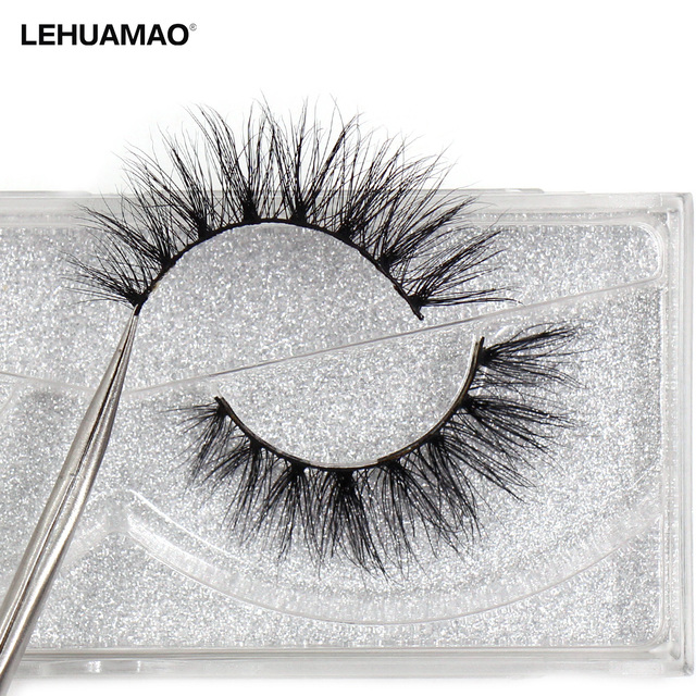 LEHUAMAO Luxury 5D Mink Hair False Eyelashes Wispy Cross natural Mink Lashes Extension Tools Makeup Handmade Mink Eyelashes A04