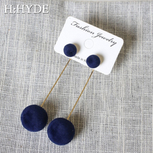 H:HYDE Red Black Plush Ball Drop Earrings For Women Korea Personality Round Long Tassel Statement Fashion Jewelry Gift