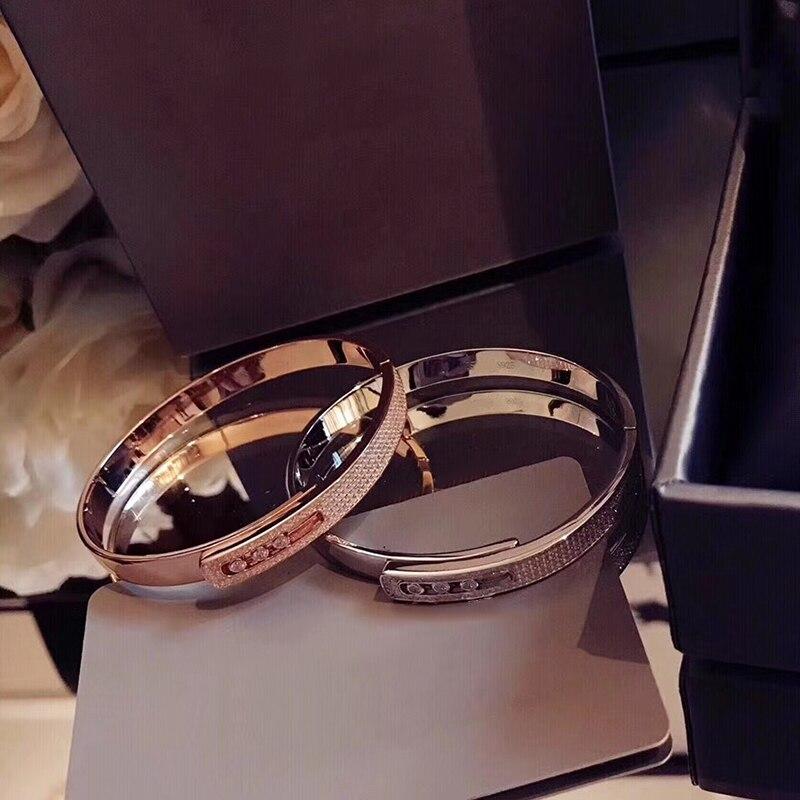 Marque Pure 925 bijoux en argent Sterling pour les femmes glisser pierre bracelet en argent pleine pierre bracelet en or Rose bijoux de mariage serrure facile - 6