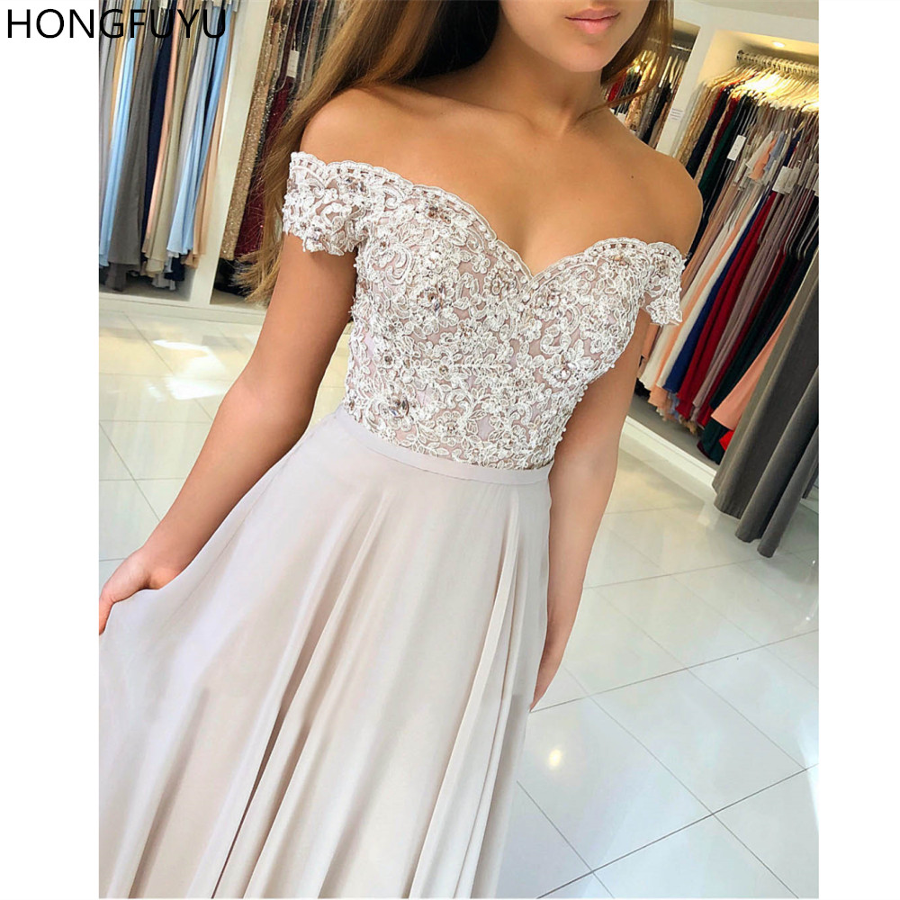 HONGFUYU Prom-Dresses Off-Shoulder Robe-De-Soiree Appliques Chiffon Evening Elegant Women