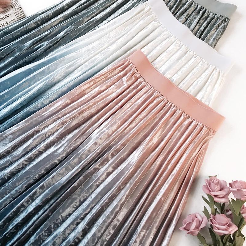 Gradient Velvet Pleated Skirt 5