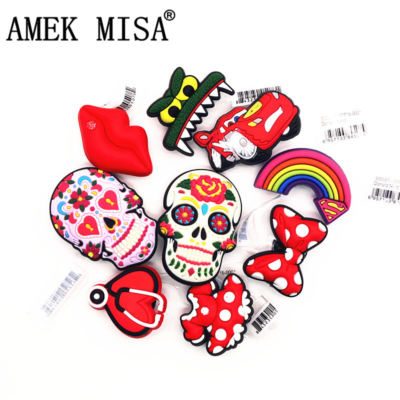 High Imitation Shoe Charms Accessories Lifelike Heart Type/Bow/Racing Car/Viper/Skull Shoe Decoration For Jibz Kid's Party X-mas