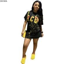 CM.YAYA Lettre ABCD Robe femme Imprimé Mode O-cou À Manches Courtes T-shirt Robe Streetwear Grande Taille S-4XL