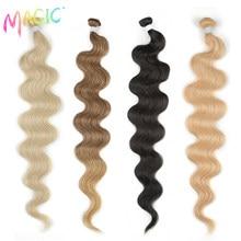Magic-mechones de cabello ondulado para mujer, extensiones de cabello sintético Rubio, marrón, degradado, resistente al calor, 26 pulgadas, 100G