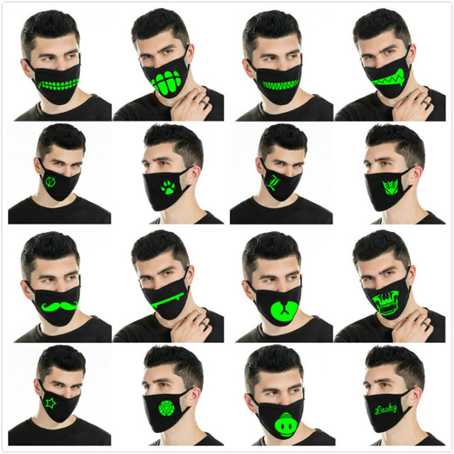 2020 Reusable Luminous Funny Expression Cotton Anti Dust Mouth Face Mask For Black Kpop Unisex Face Mouth Muffle Mask Fashion 1
