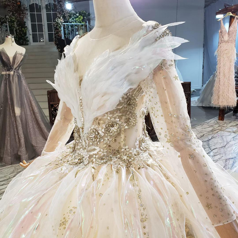 HTL1837 Luxurious Sequined Beading Wedding Dress 2020 V-Neck Three Quarters Sleeve Applique Ball Gowns Crystal 4