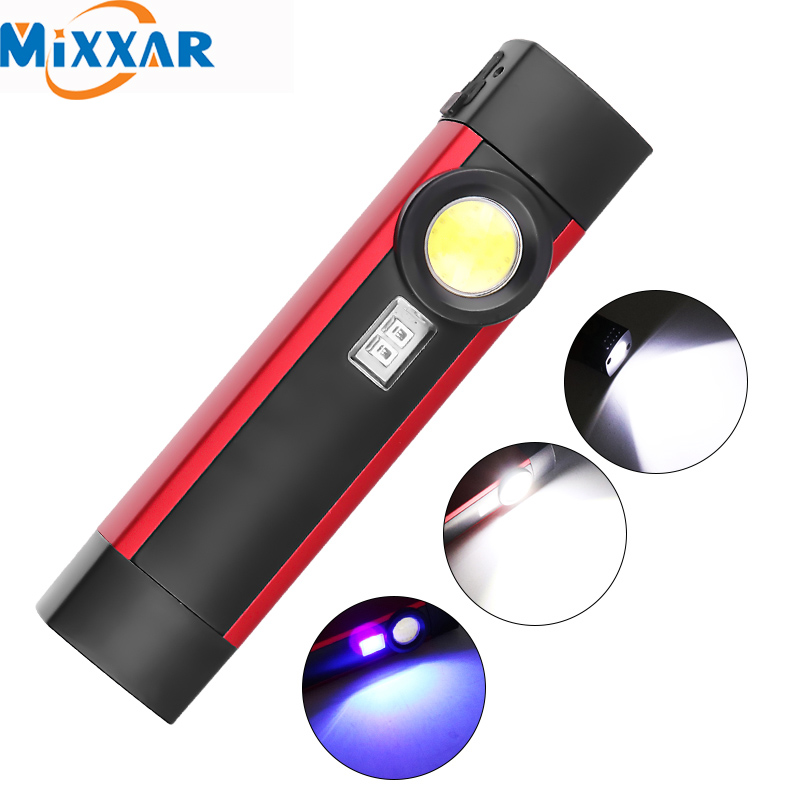 ZK20 Dropshipping COB XPE LED Flashlight Portable Working Torch UV Black Light 4 Modes With Magnet Build-in Battery Lanterna