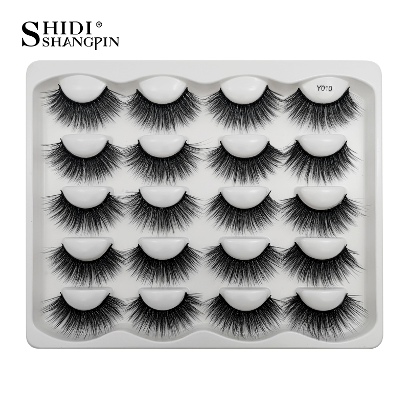 SHIDISHANGPIN 10 Pairs Dramatic Faux Mink Eyelashes Messy Fluffy False Eyelash Extension Natural Long 3d Lashes Book Cilios