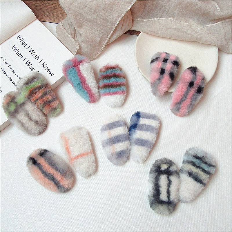 Autumn And Winter New Temperament Sweet Girl Women Plaid Plush Triangle Oval BB Clip Korean Fashion Students Hair Accessories