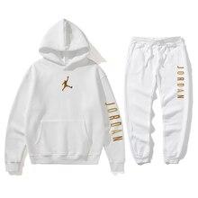 Sudadera de marca de moda para homem de otoño 2021 jordânia 23 sudadera informal com capucha + pantalones deportivos