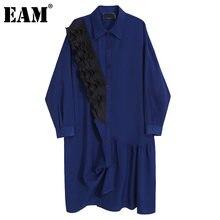 EAM-vestido verde Irregular con volantes para mujer, vestido con solapa nueva, manga larga, corte holgado, moda, primavera y otoño, 1DD4597, 2021