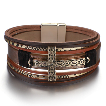 Leather Cross Bracelet alternative image view for store