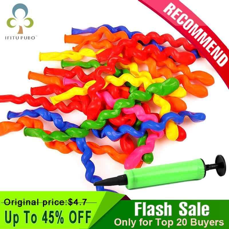 50 pcs/lot multicolore vis torsion spirale Latex ballons mariage enfants fête d'anniversaire décor jouets gonflables longue bande ballons GYH