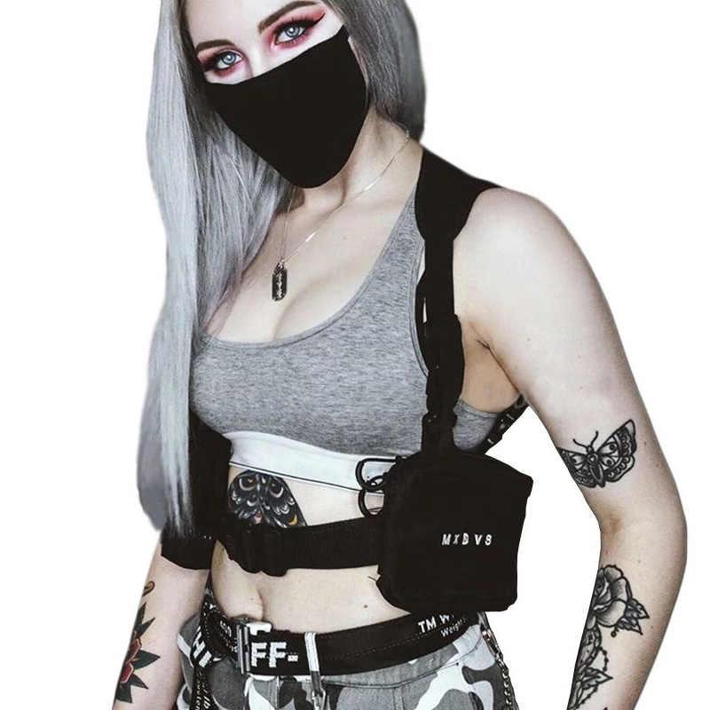 ผู้ชายสีดำ RIG กระเป๋า Streetwear เสื้อกั๊กยุทธวิธี Hip-Hop กระเป๋าแฟชั่น Tactics เอวผู้หญิงเล็กๆกระเป๋าสแควร์
