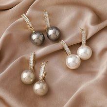 2020 nova contratada geométrica brilhante cristal brincos de gota moda sênior pérola fina elegante linda mulher brincos jóias