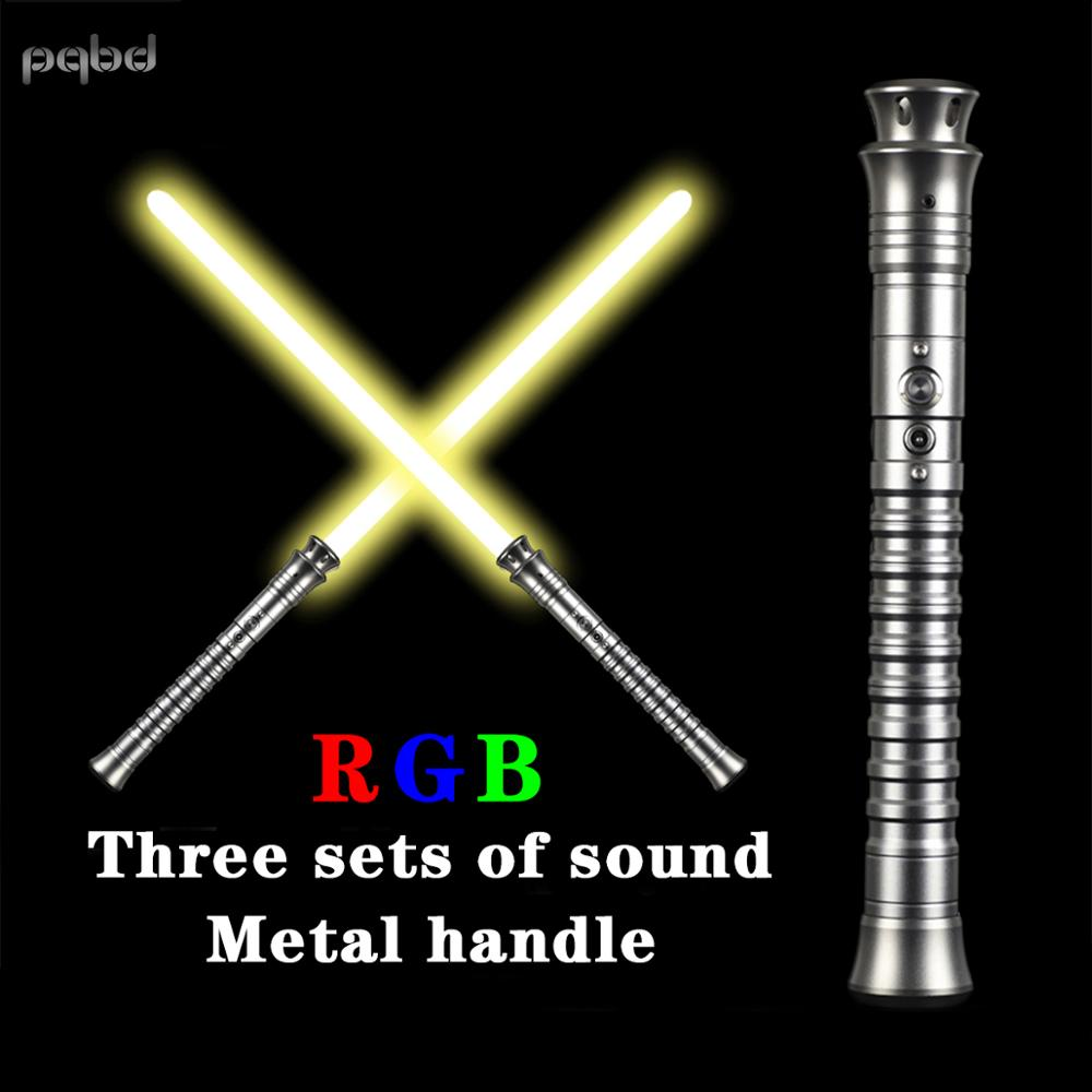 pqbd RGB Lightsaber Dueling Blade Metal Handle with 3 Sets Soundfonts Sword Toy Cosplay Lightstick Christmas Birthday Gifts